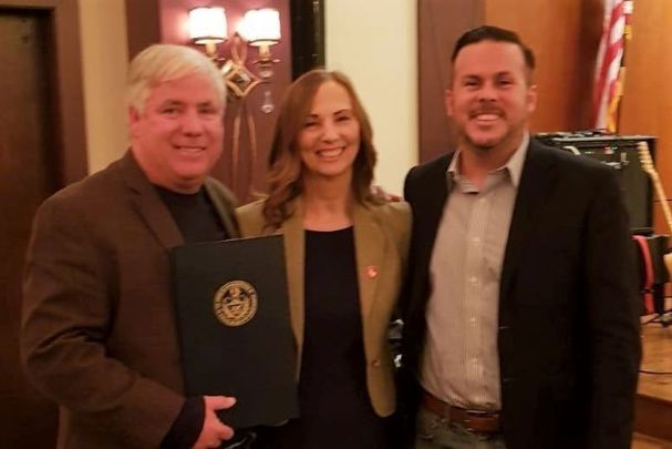 Pennsylvania State Representative Mike Driscoll, Carmel Quinn of the Ballymurphy Massacre Campaign, and Representative Kevin Boyle at AOH Freedom for All Ireland event in Philadelphia.