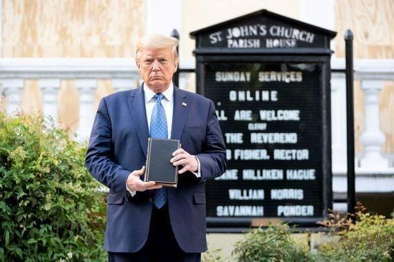 Former President Donald Trump outside St. John\'s Church in Washington in June 2020.