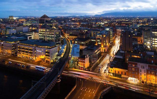 Dublin City skyline at night.