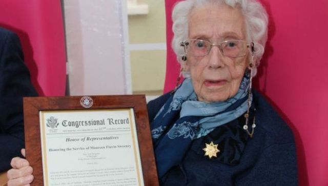 Maureen Flavin Sweeney was awarded a special US House of Representatives honor for her part in World War II