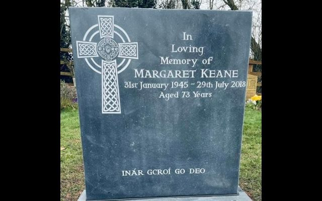 Margaret Keane\'s family finally won their battle to include an Irish-language phrase on her headstone in Coventry.