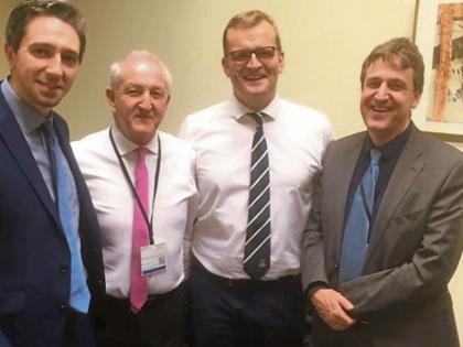Discussing stroke services were Minister Simon Harris, T.D., Martin Quinn, former Minister John Paul Phelan, T.D, and Professor Dr. Rónán Collins, Director of Stroke Services at Tallaght Hospital