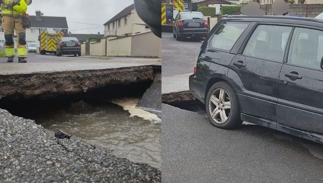 The sinkhole which appeared in the driveway of a home in County Cork