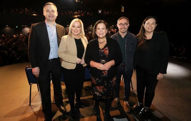 February 25, 2020: (L to R) Pearse Doherty, Michelle O\'Neill, Mary Lou McDonald, Eoin O\'Broi,n and Louise O\'Reilly at a Sinn Fein public rally in Liberty Hall, Dublin.