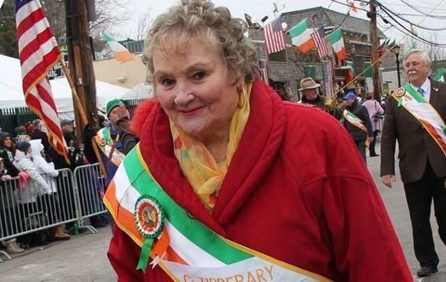 Therese Crowe marching on McLean Avenue in Yonkers during a St. Patrick\'s Day parade.