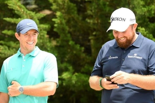 Rory McIlroy and Shane Lowry at the 2019 US Open at Pebble Beach.