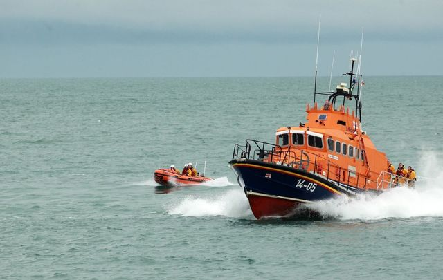An RNLI lifeboat in action.
