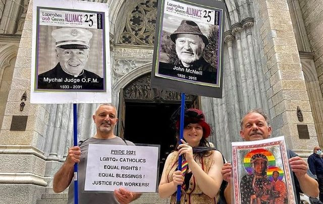 Brendan Fay (far right) outside St. Patrick's Cathedral with Dignity NY on Sunday, June 27.