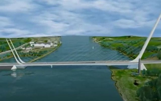 An early rendering of the Narrow Water Bridge.