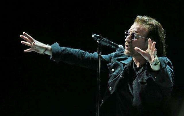U2\'s frontman Bono performing in Dublin in 2018.