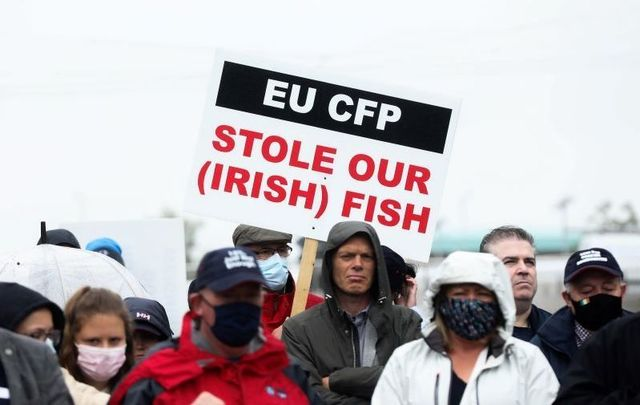 June 23, 2021: Fishermen protesting outside a meeting of the Dáil in Dublin against a lack of support from the Irish government against the EU Common Fisheries Policy.