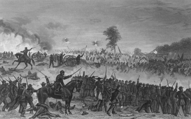 Artist\'s depiction of the Battle of Gettysburg.