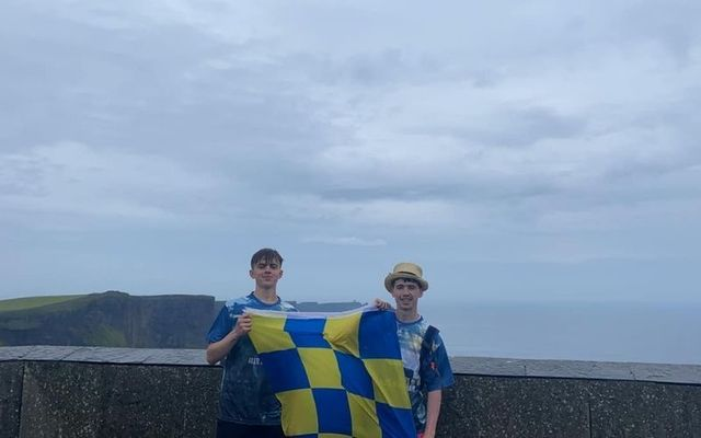 Scott Ward and Derek O\'Brien at the Cliffs of Moher on Friday.