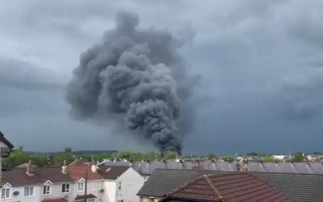 Smoke rises from the blaze in Strabane.