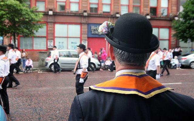 An Orange Order parade, around the Twelfth of July, in Northern Ireland.