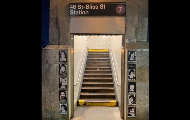 A tribute to the Irish hunger strikers at the 46 Street -  Bliss Street subway station in Sunnyside, Queens in NYC.