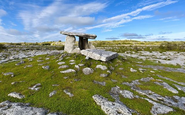 The ancient tomb of Poulnabrone, in The Burren, in County Clare.