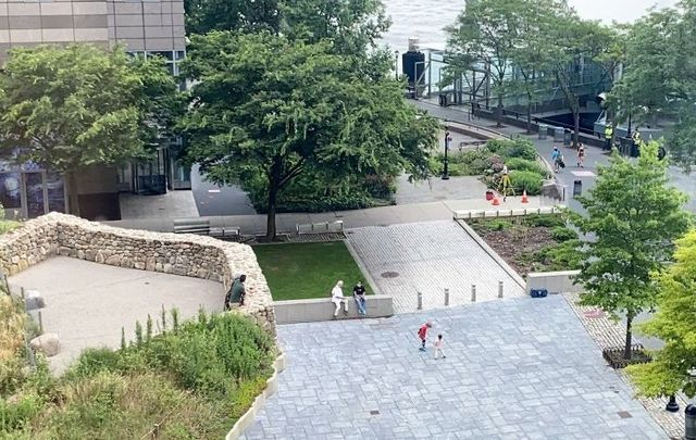 Surveyors were pictured near the Irish Hunger Memorial in Battery Park City on July 10, 2021.