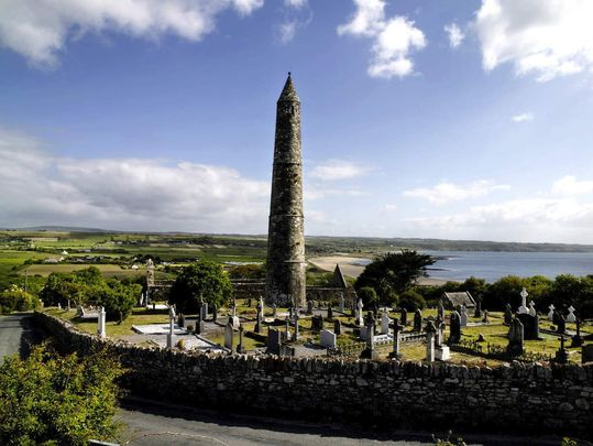 The Round Tower and historic town at Ardmore, County Waterford.