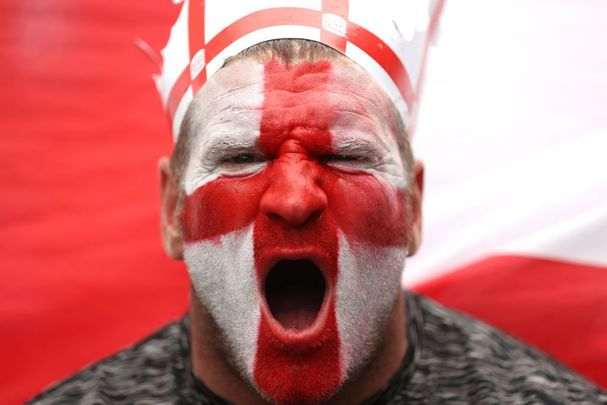 An English football fan photographed outside Wembley Stadium, in London, before the Euro 2020 final against Italy.