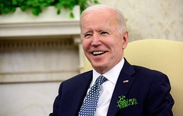 March 17, 2021: Joe Biden during his first St. Patrick\'s Day at the White House as President.