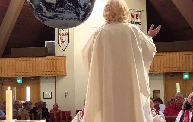 Bridget Mary Meehan giving Mass.