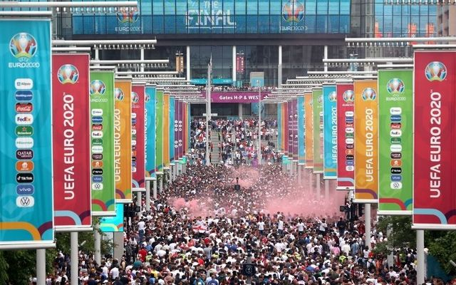 Crowds gather at Wembley Way on Sunday afternoon.