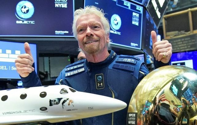 October 28, 2019: Richard Branson, Founder of Virgin Galactic, before ringing a ceremonial bell on the floor of the New York Stock Exchange (NYSE) to promote the first day of trading of Virgin Galactic Holdings shares in New York City. Virgin Galactic Holdings became the first space-tourism company to go public as it began trading with a market value of about $1 billion.