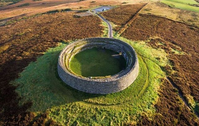 An aerial view of Grianán of Aileach in Co Donegal.