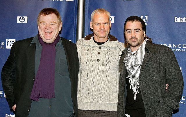 """January 18, 2008: Brendan Gleeson, Martin McDonagh, and Colin Farrell pose at the \""""In Bruges\"""" press conference held at the Sundance House during the 2008 Sundance Film Festival in Park City, Utah."""