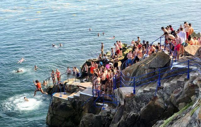 July 20, 2021: Amid Ireland\'s heatwave, people flock to the Vico Baths in Killiney, Dublin.
