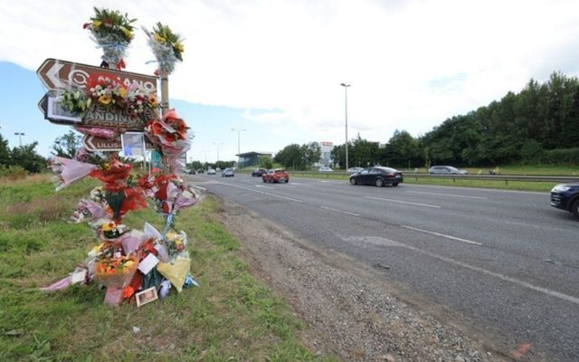 A shrine to serial burglars Dean Maguire, Carl Freeman, and Graham Taylor, who were killed while driving on the wrong side of the N7 national road in order to evade capture.
