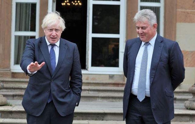August 13, 2020: Prime Minister Boris Johnson and Northern Ireland Secretary of State Brandon Lewis at Hillsborough Castle during the Prime Minister\'s visit to Belfast.