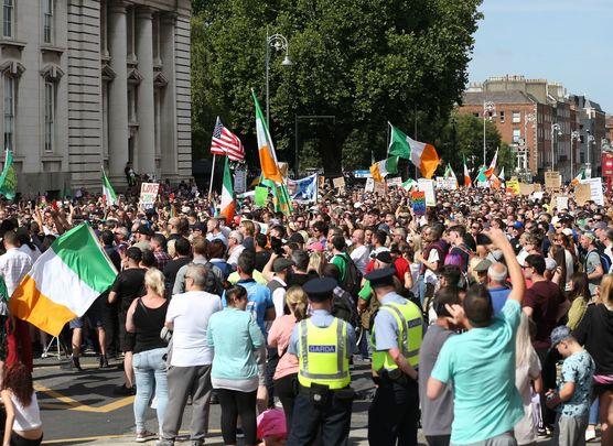 Anti-vaccine passport protester in Dublin.