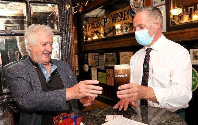July 26, 2021: A customer enjoys a pint of Guinness at Doheny and Nesbitt in Dublin.