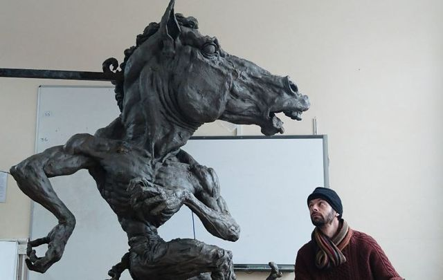 The Púca of Ennistymon and sculptor Aidan Harte.