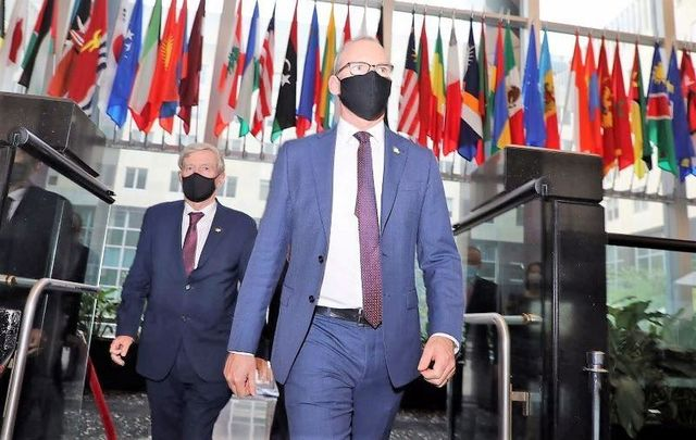 September 29, 2020: US Ambassador to Ireland Daniel Mulhall and Ireland\'s Minister for Foreign Simon Coveney in the US.