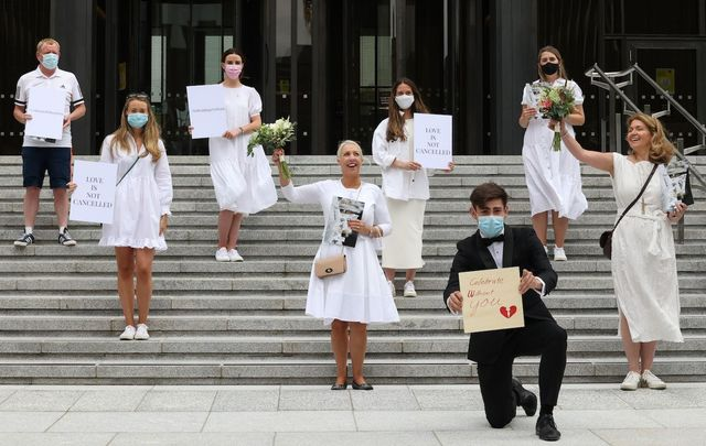 July 27, 2021: A group of brides-to-be outside the Department of Health in Dublin.