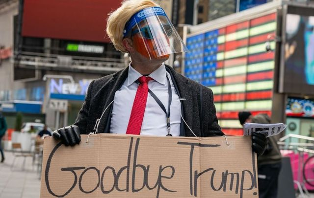 January 20, 2021: A person dressed as Donald Trump in Times Square, New York City to watch Joe Biden sworn in as 46th President Of The United States.