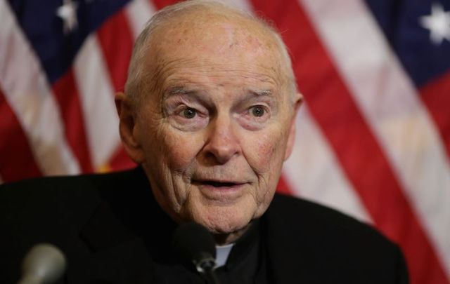 December 8, 2015: Cardinal Theodore McCarrick, archbishop emeritus of Washington, speaks during a news conference with senators and national religious leaders to respond to attempts at vilifying refugees and to call on lawmakers to engage in policymaking and not \'fear-mongering\' at the U.S. Capitol in Washington, DC.