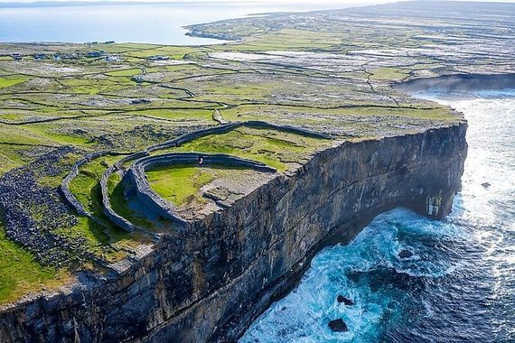 Aerial shot of Dún Aonghasa on Inis Mór.