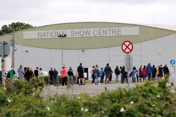 """Vaccine Centre, Swords: \""""Just under 90 percent of the adult population in Ireland has now had at least one shot (which gives substantial protection) and 72.5 percent are fully vaccinated.\"""""""