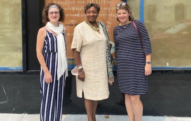 The Aisling Irish Community Center\'s Sandra Feeney Charles, Senator Andrea Stewart-Cousins, and Caitriona Clarke.