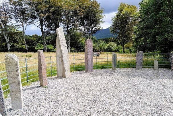 Dunloe Ogham Stones in Killarney, Co Kerry in the Munster province of Ireland.