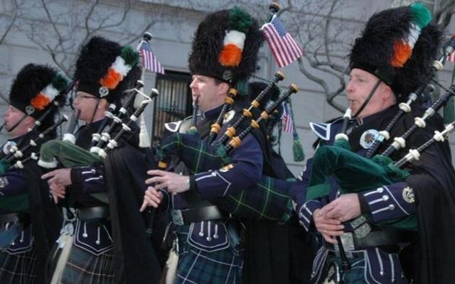 New York St. Patrick\'s Day Parade: Bagpipers on Fifth Avenue, in New York City.