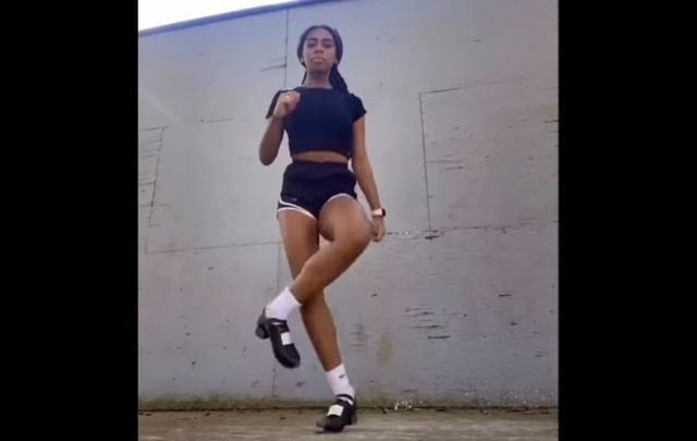 Morgan Bullock, who announced she is joining Riverdance, in her viral video Irish dance video to the \'Savage\' remix.