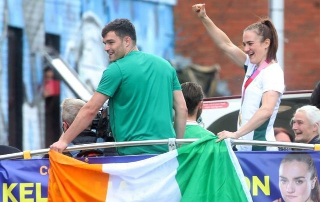 August 10, 2021: Irish Olympian boxers Kellie Harrington and Emmett Brennan wave to supporters upon their return to their native Dublin after the 2020 Tokyo Olympics.
