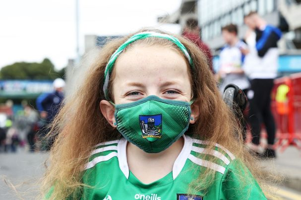 Limerick fan (PERMISSION GRANTED) Nikki Hayes (12) wearing a face mask outside Croke Park this afternoon where All-Ireland Senior Hurling Championship semi-final.