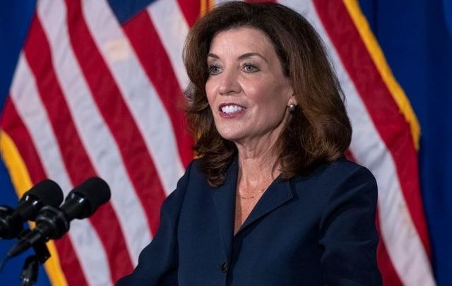 August 11, 2021: Kathy Hochul addresses the press for the first time since Andrew Cuomo announced his resignation on August 10.