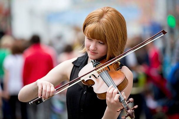 And Irish fiddle player at the Fleadh.